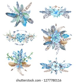 Collection of stylish watercolor hand-painted feathers, florals, arrows and triangles in boho style