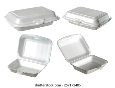 collection of styrofoam box isolated on white