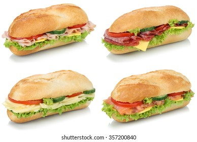 Collection of sub deli sandwiches baguettes with salami, ham and cheese isolated on a white background