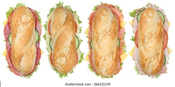 Collection of sub sandwiches baguettes with salami, ham and cheese top view isolated on a white background