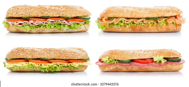 Collection of sub sandwiches with salami ham cheese salmon fish lateral isolated on a white background