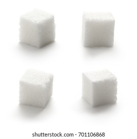 Collection of sugar cubes on white background