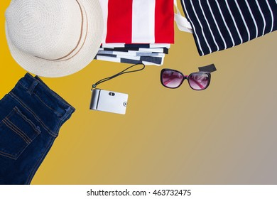Collection a summer clothes on isolated background and add clipping path on layer.