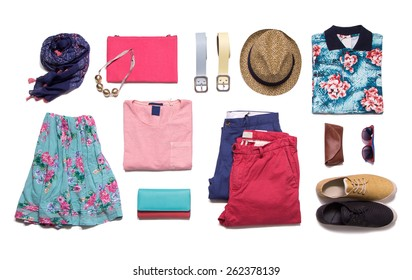 Collection summer clothes on a white background