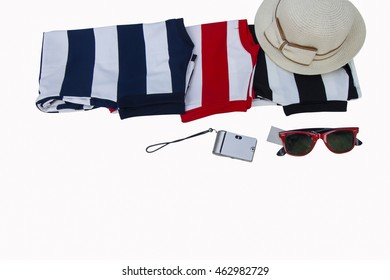 Collection a summer striped clothes on isolated background.