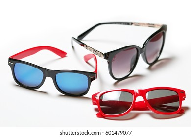 Collection Sunglasses isolated on white Background