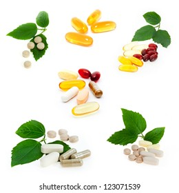 Collection of supplements on white background