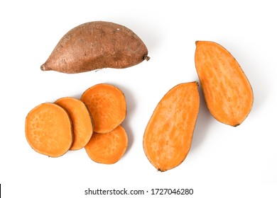 Collection of sweet potato isolated on a white background