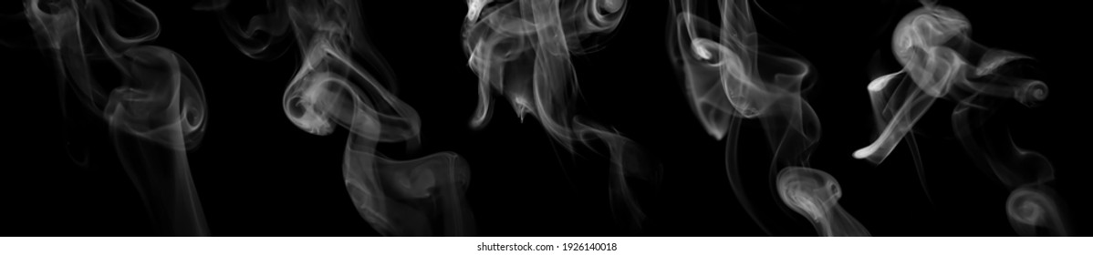 collection swirling movement of white smoke group, abstract line Isolated on black background