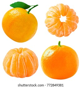 Collection of tangerines fruits isolated on white background with clipping path for package design.