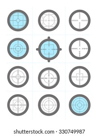 Collection of target flat icons. Crosshairs set. Aims flat symbol isolated.