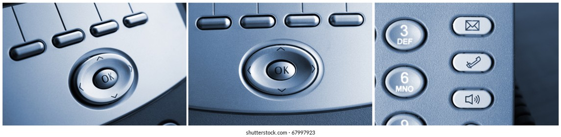 Collection of telephone or phone details with buttons, technology background.