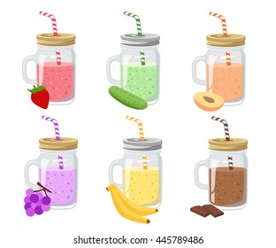 Collection of ten fruit smoothies in flat style. Fresh juice for healthy life. Menu element for cafe or restaurant. Set of summer  mason jar and detox water.