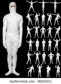 Collection of the terrible bandaged mummies isolated on a black background