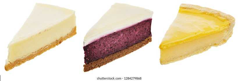 Collection of three different cheesecakes, classic, blueberry and lemon, isolated on white