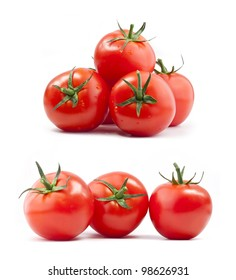 Collection of tomatoes with a light shadows, isolated on white, with clipping paths
