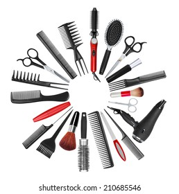 a collection of tools for professional hair stylist and makeup artist