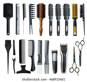 Collection of tools for professional hair stylist isolated on white background