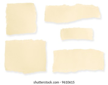 Collection of torn cardboard blank notes.  Soft shadow on white background.
