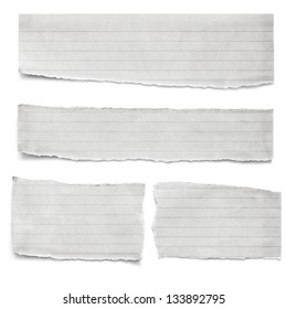 Collection of torn lined paper pieces, isolated on white.