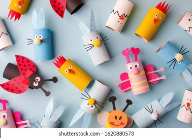 Collection of toys from toilet roll tube for Happy easter decor. A terrible craft. School and kindergarten. Handcraft creative idea, seasonal spring time holiday pattern