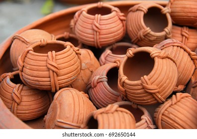 collection of Traditional terracota clay pottery cups