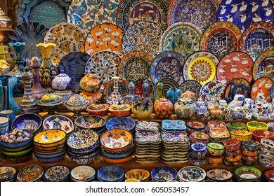 Collection of Traditional Turkish ceramic souvenirs at the Grand Bazaar in Istanbul, Turkey.