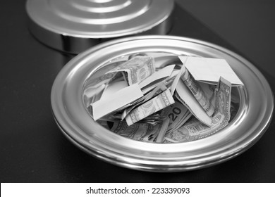 Collection Tray with Money and Checks in Black and White