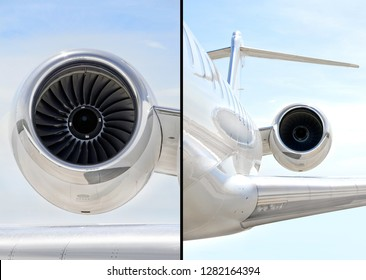 Collection of two photos of Jet Engine with on a luxury private aircraft