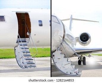 Collection of two photos of Stairs with Jet Engine on a modern private jet airplane