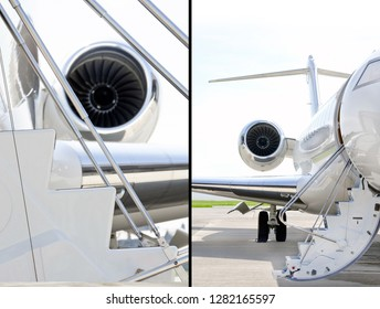 Collection of two photos of Stairs on a Jet Plane with Jet Engine on a modern private jet airplane