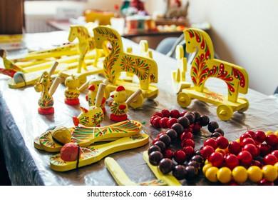 Collection of Ukrainian local handicraft arts - Yavoriv toys