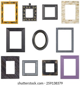 collection of unusual picture frames, isolated on white