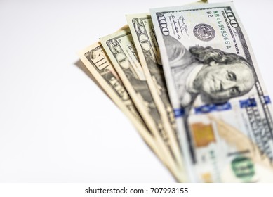 Collection of us dollar bills. Isolated. many dollars on a white background isolated. Dollars seamless background. High resolution seamless texture