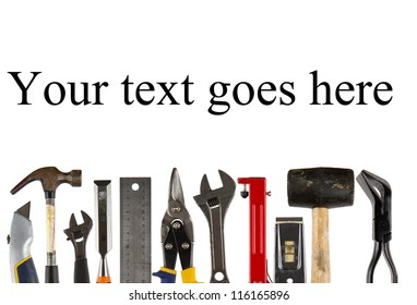 A collection of used isolated tools on white  background with copy space