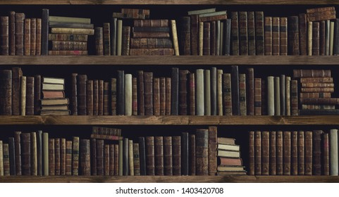 Collection of valuable ancient books on a wooden bookcase: knowledge, culture and education concept