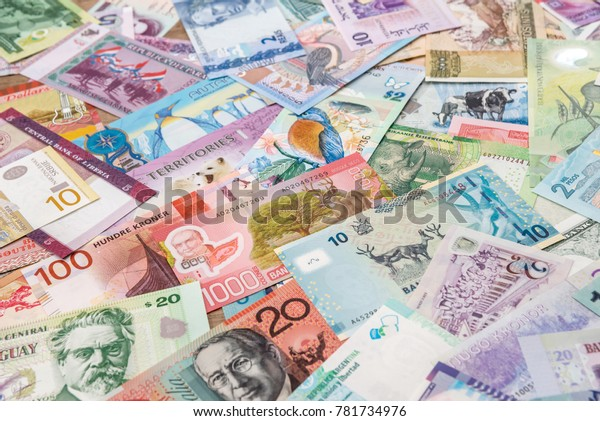 Collection Variety Currency Banknotes World Stock Photo