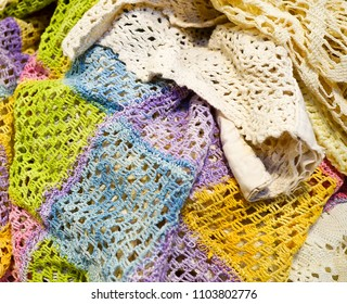 A collection of a variety of lace and crochet material