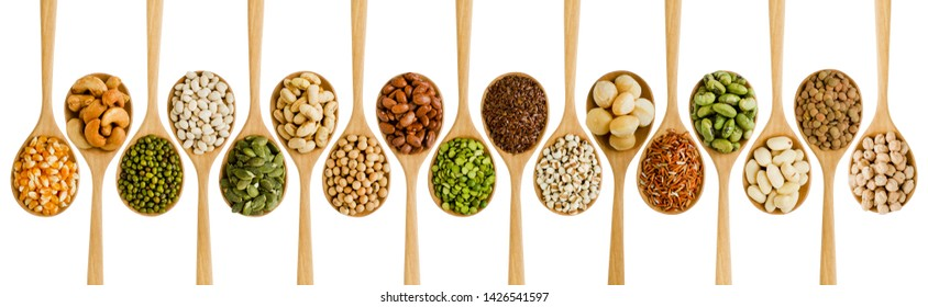 Collection of variety natural organic cereal dry seed in wooden spoon consisted of,corn,cashew nut,bean,millet,rice,macadamia,job's tear,and lentils,isolated on white background