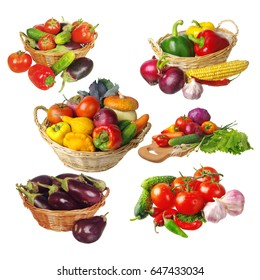 Collection of variety vegetables. Isolated on white.