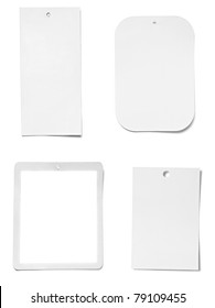collection of various blank price labels on white background. each one is shot separately