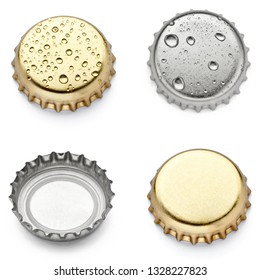 collection of  various bottle cap on white background