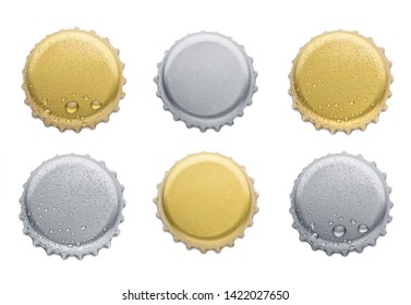 collection of various bottle caps isolated on white background