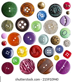 Collection of various buttons on white background