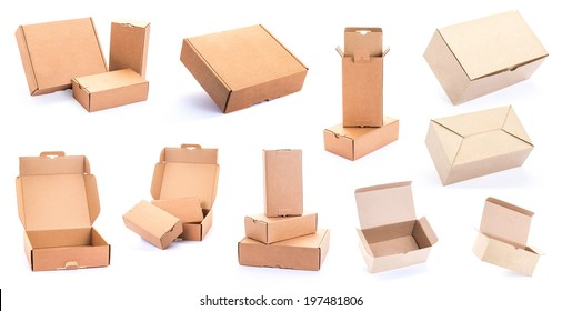 collection of various Cardboard Box isolated on a White background