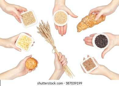 collection of various cereals in a hands isolated on white background