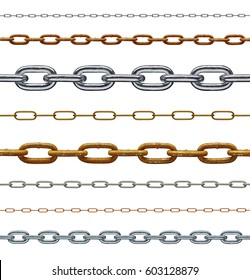 collection of various chain on white background. each on is shot separately