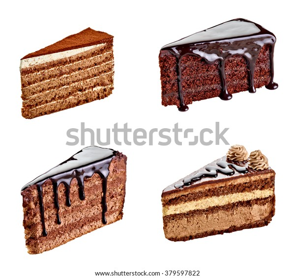 collection of various chocolate cake on white background. each one is shot separately