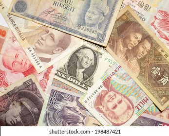 A collection of various currencies from countries spanning the globe