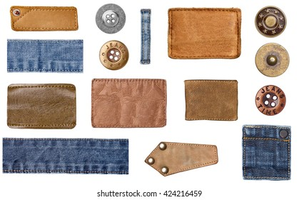 collection of various denim jeans parts. each one is shot separately